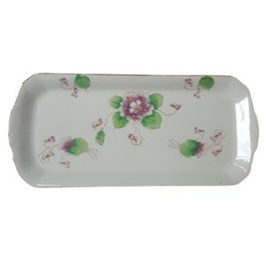 Vintage Japan white floral china vanity tray